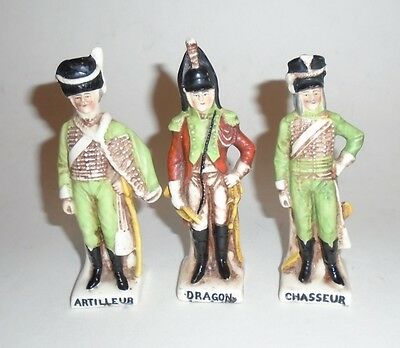 Lot of 3 Antique German Porcelain French Soldier Figurines