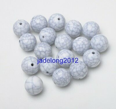 30pcs white Charm Round Acrylic Spacer Crack Beads 10MM DIY Jewelry Finding