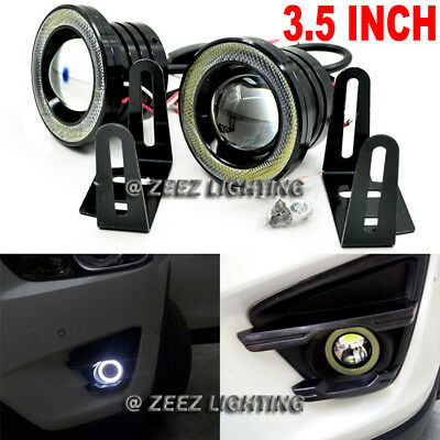 3-5 High Power LED COB Projector Fog Lamp DRL w Halo Ring Angel Eye Light C99