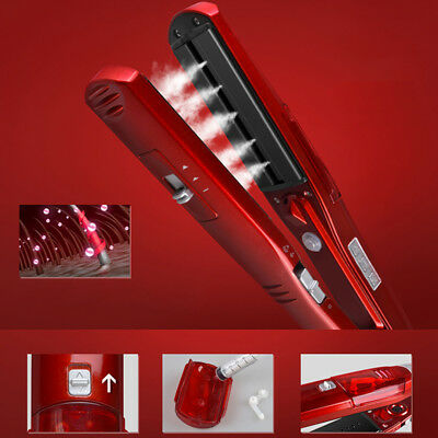 Red 110-240V Ceramic Electronic Hair Steam styler Iron Dry Straightening Irons