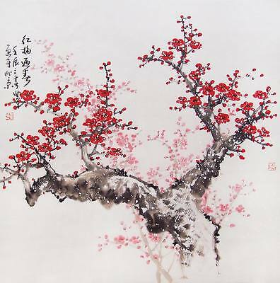 Chinese Cherry Blossom Art   A4 CANVAS PRINT poster  8X 12