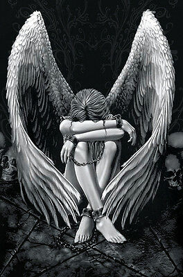 Gothic Fallen Angel in Chains CANVAS ART PRINT A3 poster