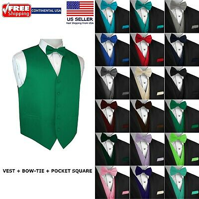 Mens Solid Satin Tuxedo Vest Bow-Tie and Hankie- Formal Dress Wedding Prom