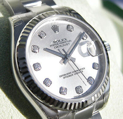 Rolex Datejust 178274 Midsize Steel - White Gold Oyster Silver Diamond Dial 31MM