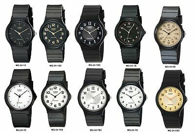 Casio MQ24 Mens Black Resin Band Black White or Gold Dial Casual Analog Watch
