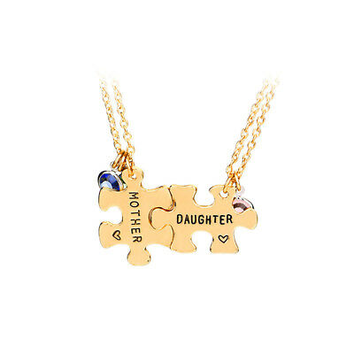 Mothers Day GiftDaughter GiftLove Crystal Gold Puzzle Necklace Pendant