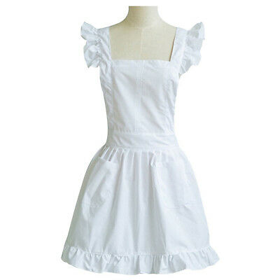 White Princess Frilly Victorian Pinnafore Skirt Apron For Waitress Maid Costume