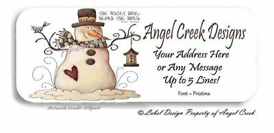 Country Prim Christmas Snowman wBird Personalized Laser Return Address Labels