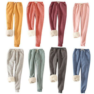 Women Winter Thick Warm Fleece Lined Thermal Stretchy Pants Trousers Sweatpants