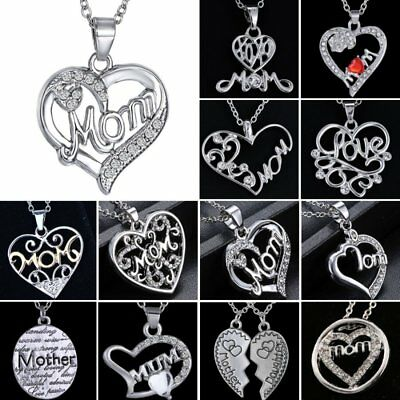 Mom Grandma 18K White Gold Filled Rhinestone Heart Necklace Mothers Day Gift