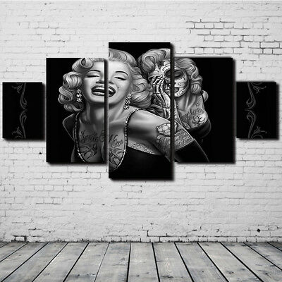 5 Pcs Canvas Print Marilyn Monroe Painting Pictures Wall Art Poster Home Decor