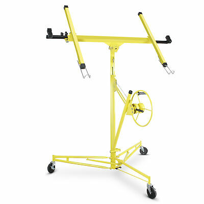 Drywall Lift Panel 11 Hoist Dry Wall Jack Rolling Caster Lifter Lockable Yellow