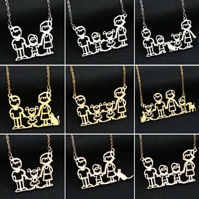 Stainless Steel Cartoon Hollow Family Father Mom Pet Necklace Mothers Day Gift