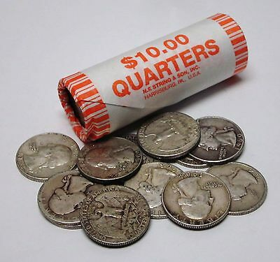 Circulated Assorted Roll of 40 Silver Washington Quarters