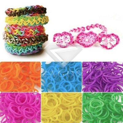 185-200pcs Refill Rainbow Rubber Loom Bands Striped Bracelet DIY Making