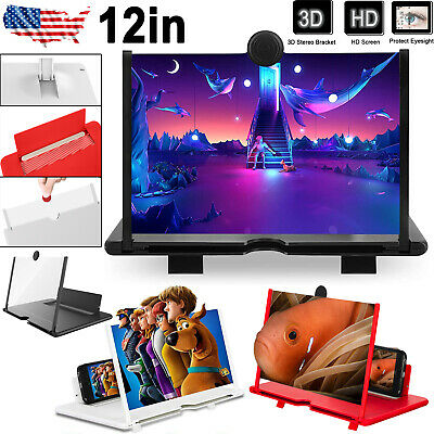 12 Mobile Phone Screen Magnifier 3D HD Video Amplifier Pull-out Stand Bracket