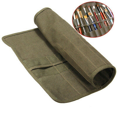 22 Holes Artist Canvas Oil Painting Brushes Bag Roll Up Art Cases Holder Pouch