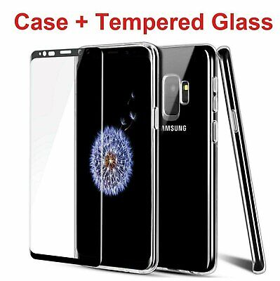 For Samsung Galaxy S9  S9 Plus Clear Case - Tempered Glass Screen Protector