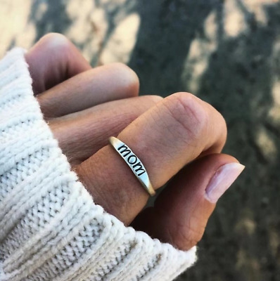 2018 Fashion Vintage Sterling Silver Mom Letter Ring Mothers Day Size6-10 Gifts