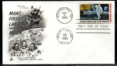 C-76 First Day Cover - First Man on the Moon stamp by Artcraft Apollo 11