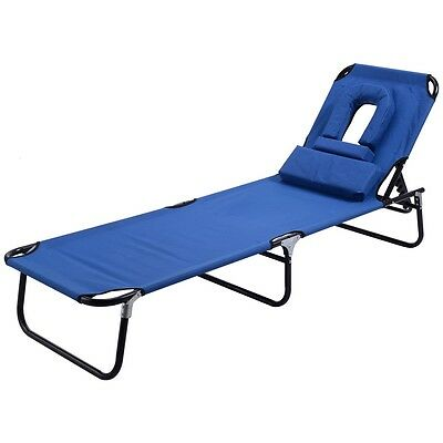 Patio Garden Pool Folding Recliner Lounge Chair Chaise Seat With Padded Pillows