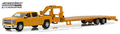 164 GreenLight HITCH - TOW 13 Yellow 2015 Silverado FLATBED GOOSENECK TRAILER