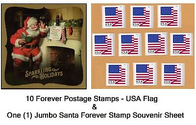 10 USA Forever Flag Stamps NEW USPS Self-Stick Postage FREE S-H United States