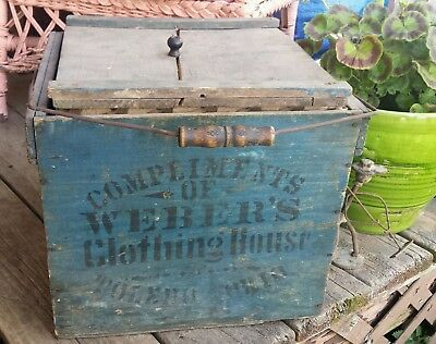Antique Reliable Egg Crate Wood Carrier - Lid Toledo Ohio CLOTHING Advertising