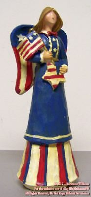 NEW  PATRIOTIC ANGEL HOLDING A FLAG FOURTH OF JULY DRESSED IN RED WHITE AND BLUE