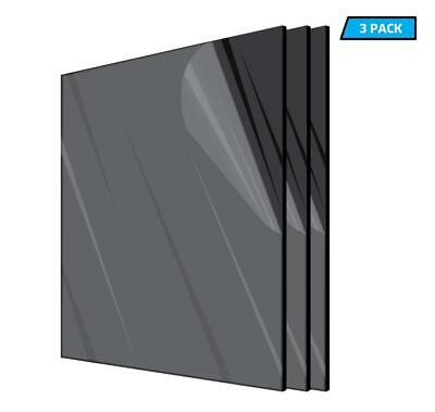 AdirOffice Plexiglass Opaque Black Acrylic Sheet 12 x 24 x 18 in Thick 3-Pack