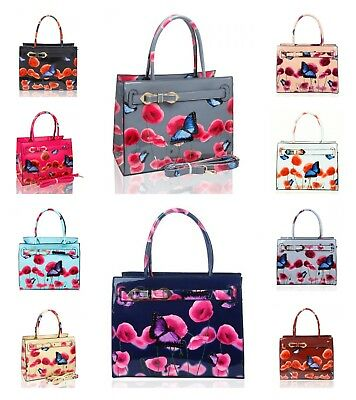 NEW WOMENS PATENT POPPY BUTTERFLY PATTERNED HAND BAG WITH RIBBON BELT DETAILS