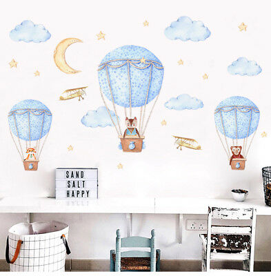 Hot Air Balloon Animals Wall Stickers Decal Removable Kids Nursery Room Decor