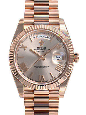 Rolex Day Date 228235 President 40mm Everose Gold Sundust Roman Dial Watch