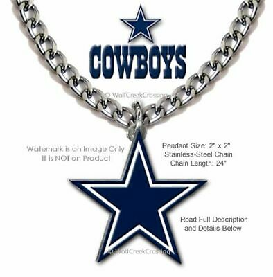 LARGE DALLAS COWBOYS NECKLACE - STAINLESS STEEL CHAIN NFL FOOTBALL - FREE SHIP