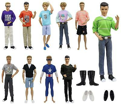 10x Barbies Boy Friend Ken Doll Clothes 3x Shoes Summer Accessories Outfits Top