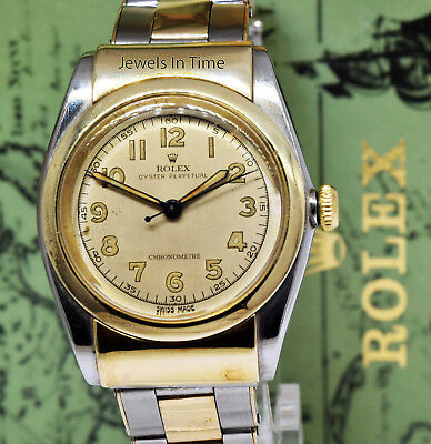 Rolex Vintage 1940s Hooded Bubbleback 14k Gold - Steel Mens Watch - Box 3065
