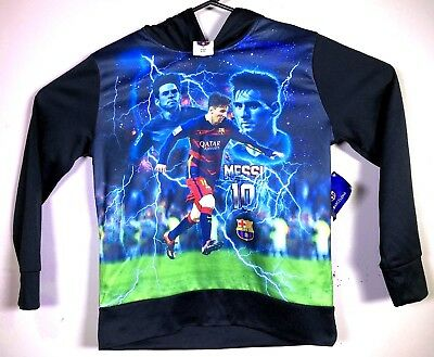 NWT Lionel Messi FC Barcelona Futball Black Hoodie Boys Youth L Large Soccer