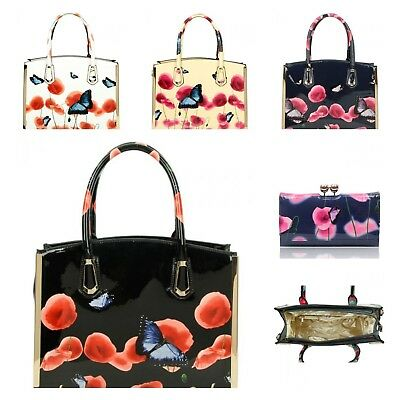 NEW UK WOMENS PATENT POPPY BUTTERFLY TOP HANDLE BAG DESIGNED WITH METAL BORDER