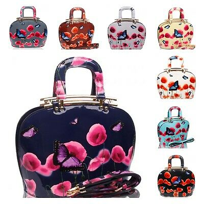 UK NEW WOMENS PATENT POPPY BUTTERFLY PRINT TOPHANDLE TOTE BAG WITH METAL HINGES