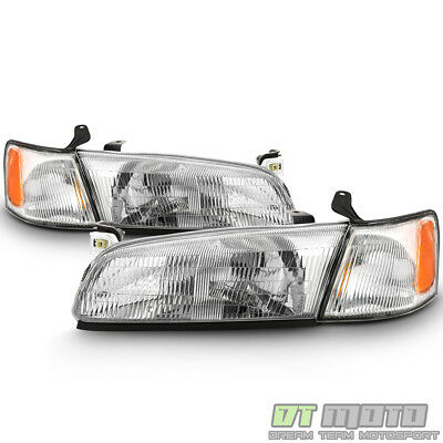 For 1997 1998 1999 Toyota Camry Headlights Headlamps w Corner Lights Left-Right