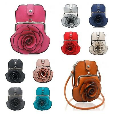 NEW GIRLS 3D ROSE FLORAL PATTERNED MOBILE PHONE POUCH PURSE BAG CROSS BODY BAG