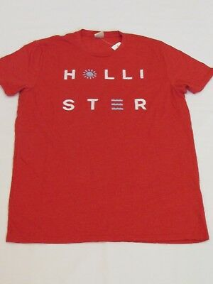 NEW MEN'S HOLLISTER CO- SHORT SLEEVE GRAPHIC T-SHIRT RED SIZE MEDIUM