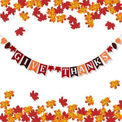 Thanksgiving Decorations Banner - GIVE Thanks Felt Garland with Artificial Maple