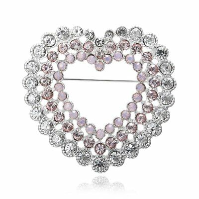 New  Mothers Day Gifts Hollow Heart Crystal Brooch Pin Women Costume Jewelry