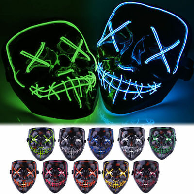Halloween Clubbing Light Up Stitches LED Mask Costume Rave Cosplay Party Purge