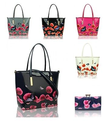 NEW WOMENS LARGE PATENT POPPY FLOWER BUTTERFLY PATTERNED LONG HANDLE HAND BAG