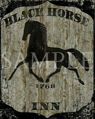Primitive Black Horse Inn Tavern Sign Laser Print 8x10