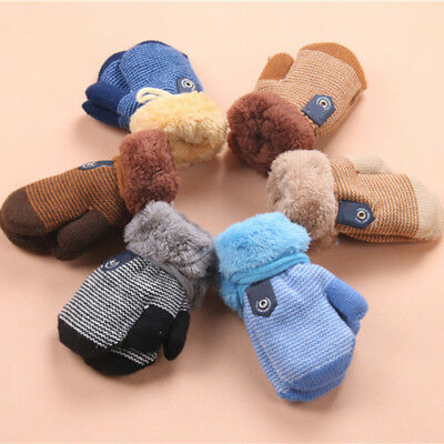 Winter Warm Cute Knit Mittens Thicken Gloves for Toddler Infant Baby Girls Boys