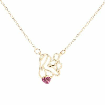 Fashion Trendy Mom Baby Love Necklace Crystal Heart Pendant Jewelry Mothers Day