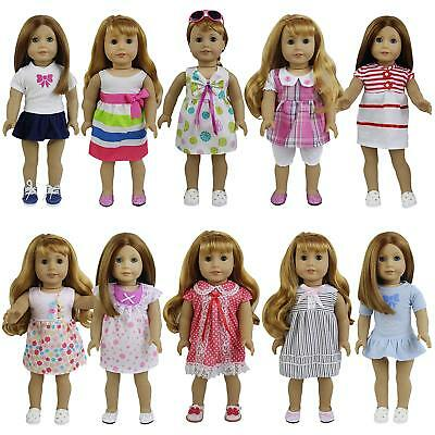 8 Sets Girl Baby Doll Clothes Dress Skirt For 14-16 inch and 18 Dolls Kid Gifts